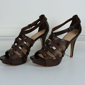 MARC FISHER BROWN LEATHER STRAPPY HEELS SZ 8.5M